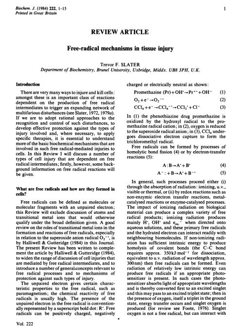 Free-radical mechanisms in tissue injury